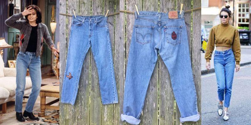 กางเกงยีนส์เอวสูง (Mom Jeans) กางเกงยีนส์เอวสูงหรือที่บางคนเรียกว่า Mom Jeans หรือกางเกงยีนส์ทรงคุณแม่เป็นอีกหนึ่งไอเท็มฮอตในสมัย 90s และยังฮิตมาทุกยุคทุกสมัย เพราะแมตช์ง่ายและสร้างได้หลายลุค อย่างมอนิก้าจาก Friends ที่เลือกจะใส่คู่กับเสื้อยืดสีดำทับด้วยแจ็กเก็ตก็จะให้ลุคทะมัดทะแมงขึ้นมา หรือแบบสาวเคนดัล เจนเนอร์ ที่จับคู่กับครอปสเวตเตอร์ก็ได้ลุคเปรี้ยวเข็ดฟันกันไปเลย