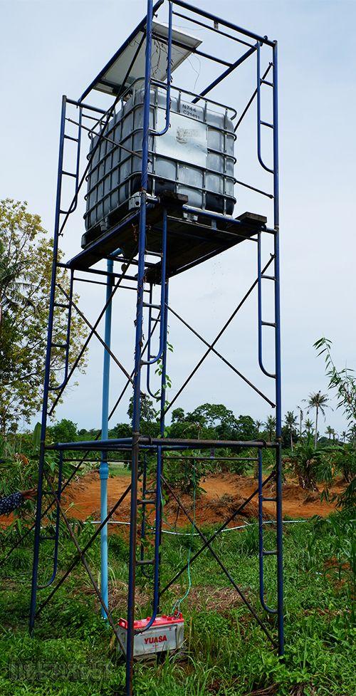 ระบบน้ำหยด ปั๊มน้ำใช้พลังงานจากแผงโซลาเซล