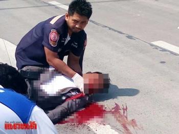 รองสว.จร.ปทุมฯไล่จับรถฝ่าไฟแดง ถูกตัดหน้าเสียชีวิต