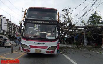 พายุฝนพัดถล่มหนักต้นตีนเป็ดโค่นทับรถบัส-ร้านค้าพัง