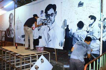 ศิลปินจิตอาสารวมตัวกลับบ้านเกิด วาดภาพรัชกาลที่9