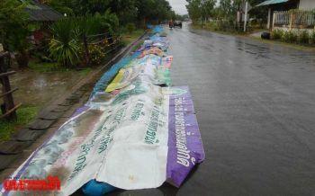 บุรีรัมย์อากาศแปรปรวน กระทบเกษตรกรตากข้าวเปลือกริมถนน