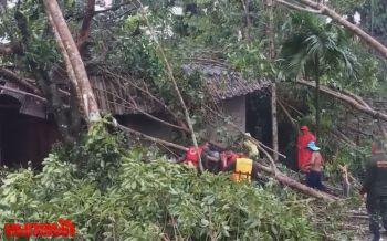 พายุงวงช้างถล่มเมืองคอน เสาไฟฟ้าหัก-หลังคาปลิวเสียหาย120หลัง