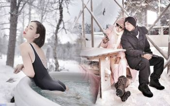 \'ดีเจเพชรจ้า-นิวเคลียร์\'ควงคู่สวีท แช่บ่อน้ำกลางหิมะท้าลมหนาว
