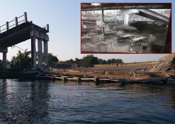 เรือชนระทึก! สะพานแม่น้ำท่าจีนพังถล่ม สันนิษฐานเครื่องยนต์ขัดข้อง