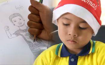 เชียร์\'พี่ตูน\'สุดใจ! จิตรกรน้อยวัย9ขวบขอวาดภาพร่วมให้กำลังใจ
