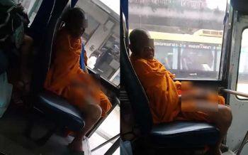 เสื่อมวงการศาสนา! พระสงฆ์นั่งรถเมล์แอบส่องสาว ทนไม่ไหวควักเจ้าโลกสำเร็จความใคร่ (ชมคลิป)