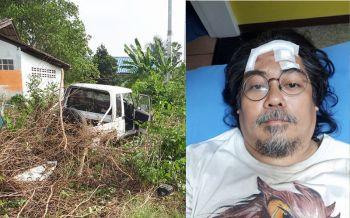 \'ศศิน\' ประสบอุบัติเหตุรถไถลลงข้างทาง ได้รับบาดเจ็บ