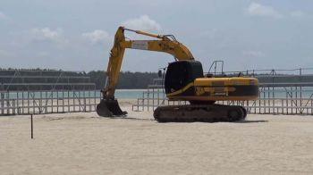\'อบจ.สงขลา\'ปรับระดับชายหาดสมิหลา เร่งสร้างสนามแข่งวอลเลย์บอลชายหาด
