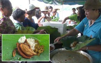 สงขลาสืบสานวิถีพื้นบ้านย้อนยุคชาวนาไทย\'กินข้าวห่อใบบัว\'แทนกล่องโฟม