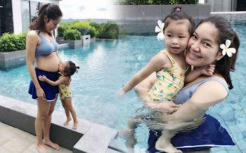 \'เบนซ์\'อวดท้องโตในชุดว่ายน้ำ \'น้องปริม\'ยืนจูบน้องสุดน่ารัก