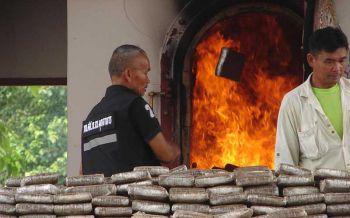 ตำรวจฌาปนกิจยาเสพติด ใช้เมรุเผาศพวันต้านยาเสพติดโลก