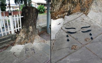 ดวงตาร้องไห้! RIP\'ต้นจามจุรียักษ์\'ผลงานล่าสุด\'Headache Stencil\' ศิลปินกราฟฟิตี้ไทย