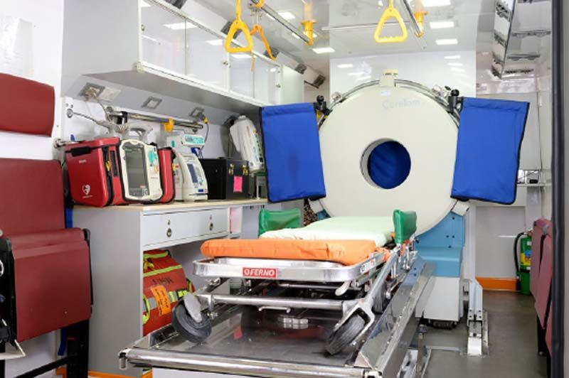 Inside the vehicle, a mobile acute paralysis unit